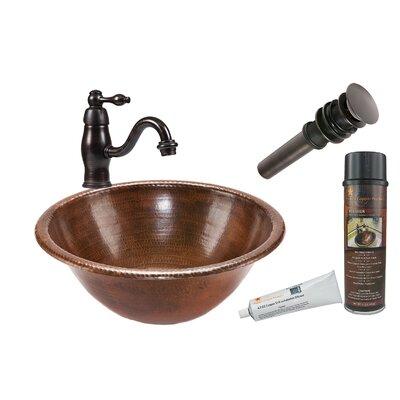 Metal Circular Drop-In Bathroom Sink with Faucet