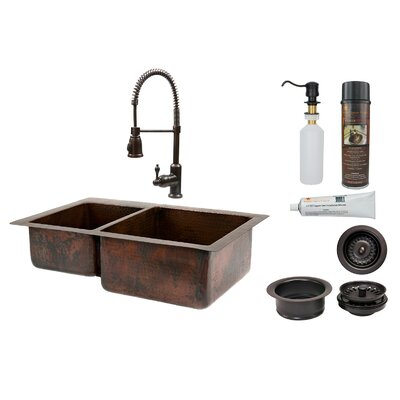 33 x 22 Double Basin Kitchen Sink with Faucet