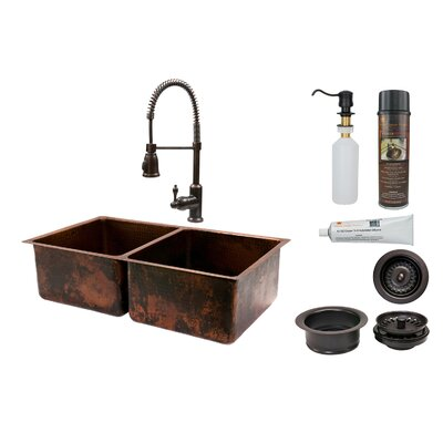 33 x 19 Double Basin Kitchen Sink with Faucet