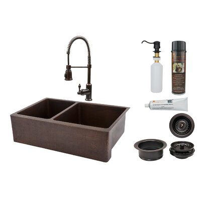 33 x 22 Apron Double Basin Kitchen Sink with Faucet