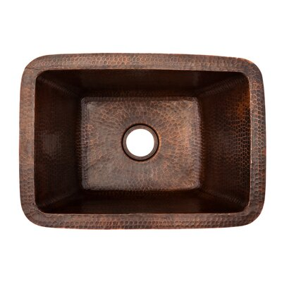 17 x 12 Rectangle Copper Bar Sink Drain Size: 2