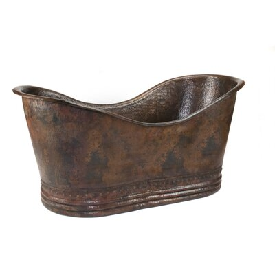 67 x 32 Hammered Copper Double Soaking Bathtub