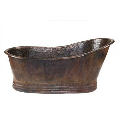 67 x 32 Hammered Copper Single Soaking Bathtub