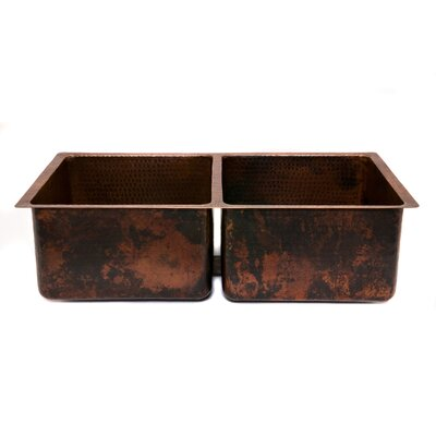 33 x 19 Hammered 50/50 Double Bowl Kitchen Sink