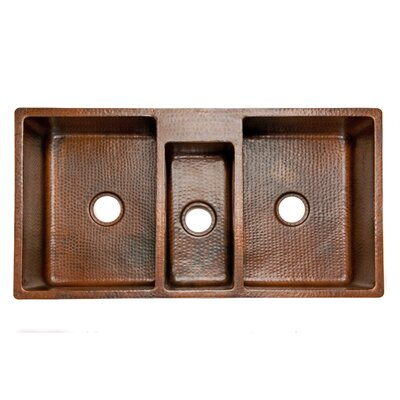 42 x 22 Hammered Triple Bowl Kitchen Sink