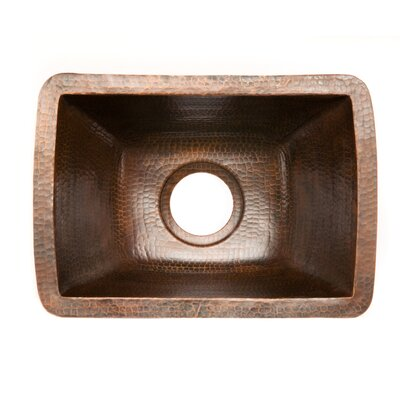 17 x 12 Rectangle Copper Bar Sink Drain Size: 3.5