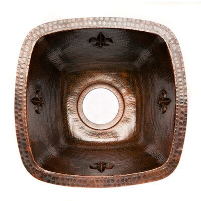Fleur De Lis 15 x 15 Square Copper Bar Sink