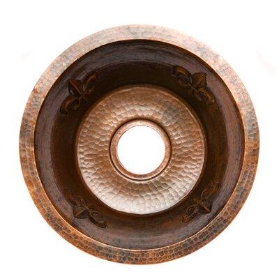 Fleur De Lis 16 x 16 Round Copper Bar Sink Drain Size: 3.5