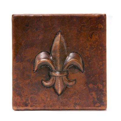 4 x 4 Copper Fleur De Lis Tile in Oil Rubbed Bronze