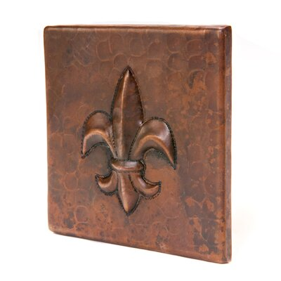 4 x 4 Copper Fleur De Lis Tile in Oil Rubbed Bronze