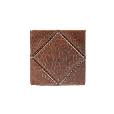 4 x 4 Hammered Copper Tile in Oil Rubbed Bronze