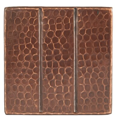 4 x 4 Hammered Copper Linear Tile in Oil Rubbed Bronze