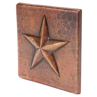 4 x 4 Hammered Copper Star Tile in Oil Rubbed Bronze
