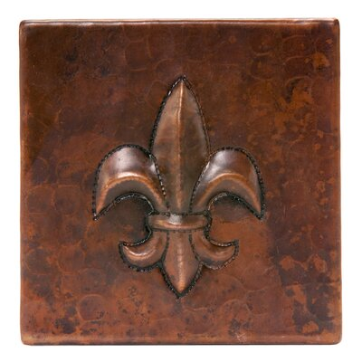 4 x 4 Hammered Copper Fleur De Lis Tile in Oil Rubbed Bronze