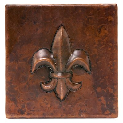 4 x 4 Hammered Copper Fleur De Lis Tile in Oil Rubbed Bronze
