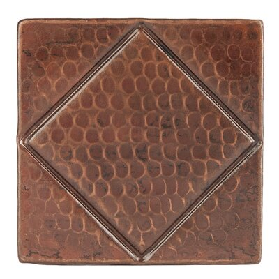 4 x 4 Hammered Copper Diamond Tile in Oil Rubbed Bronze