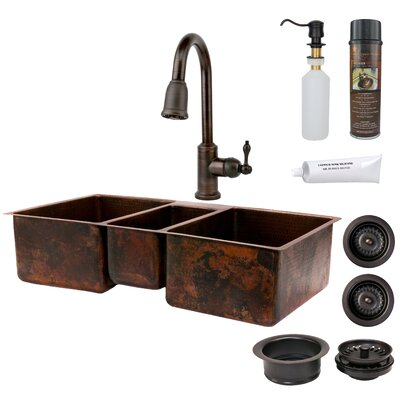 Hammered Triple Basin Kitchen Sink with ORB Pull Down Faucet, Drain and Accessories
