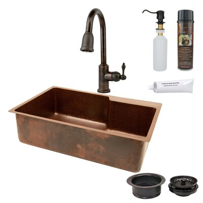 33 x 22 Hammered Single Basin Kitchen Sink with Faucet with ORB Pull Down Faucet, Drain and Accessories