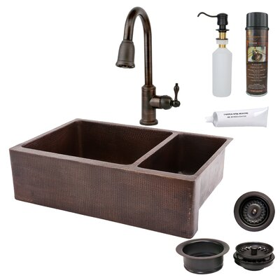 33 x 22 Hammered Apron Kitchen Sink with Faucet