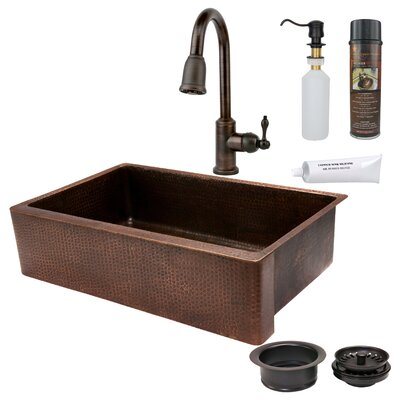 35 x 22 Hammered Apron Single Basin Kitchen Sink with ORB Pull Down Faucet, Drain and Accessories