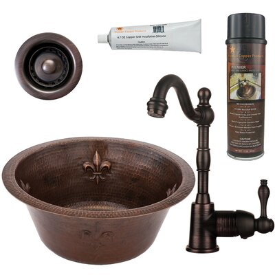 7 x 16 Fleur De Lis Round Copper Bar Sink with Faucet