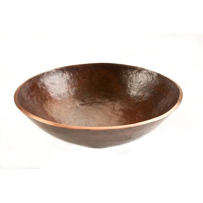 Old World Hand Forged Copper Circular Vessel Bathroom Sink