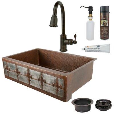 Fleur De Lis 33 x 22 Single Bowl Apron Kitchen Sink with Faucet