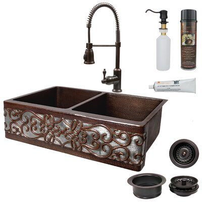 33 x 22 Double Bowl Apron Kitchen Sink with Faucet