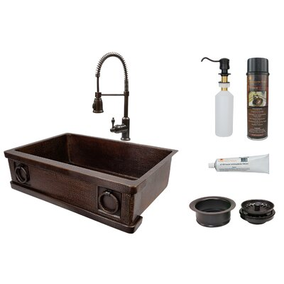 33 x 22 Farmhouse Kitchen Sink with Faucet and Drain Assembly