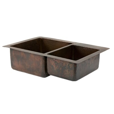 33 x 22 Hammered 60/40 Double Bowl Kitchen Sink