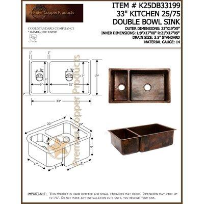 33 x 19 Hammered 25/75 Double Bowl Kitchen Sink