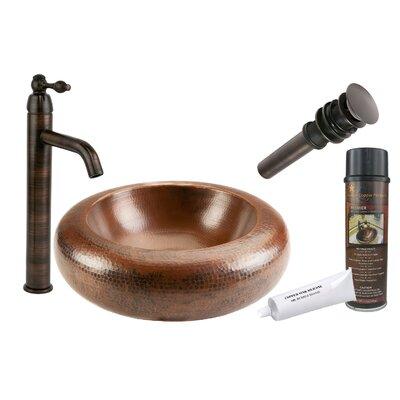 Premium Blooming Hammered Circular Vessel Bathroom Sink Size: 18 H x 18 W x 4.5 D