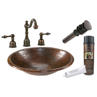 Metal Oval Drop-In Bathroom Sink with Faucet