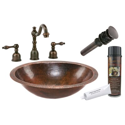 Hammered Metal Oval Undermount Bathroom Sink with Faucet