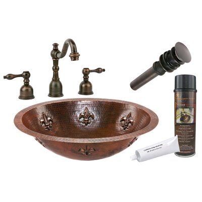 Fleur De Lis Metal Oval Undermount Bathroom Sink with Faucet