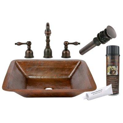 Hammered Metal Rectangular Undermount Bathroom Sink with Faucet