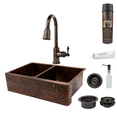 33 x 22 Hammered Apron Double Basin Kitchen Sink with ORB Pull Down Faucet, Drain and Accessories