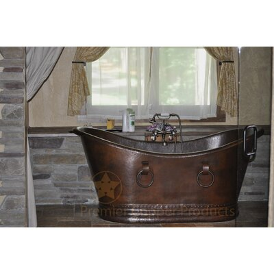 67 x 34 Hammered Copper Double Slipper Bathtub