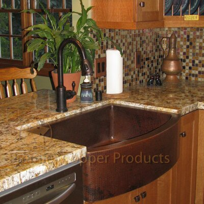 33 x 24 Hammered Apron Kitchen Sink with Faucet