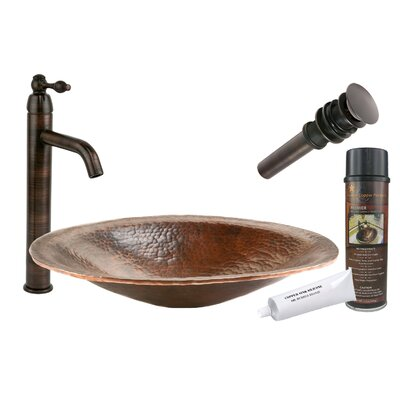 Old World Metal Oval Vessel Bathroom Sink with Faucet