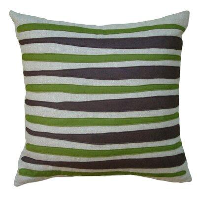 Moris Linen Throw Pillow Color: Oatmeal Linen Fabric in Chocolate/Moss
