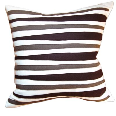 Moris Linen Throw Pillow Color: Off-White Flannel Fabric in Chocolate/Moss