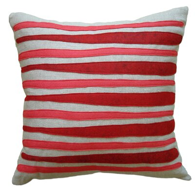 Moris Linen Throw Pillow Color: Oatmeal Linen Fabric in Red/Strawberry