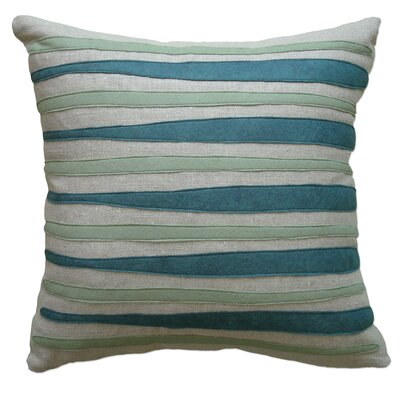 Moris Linen Throw Pillow Color: Oatmeal Linen Fabric In Brook/loden