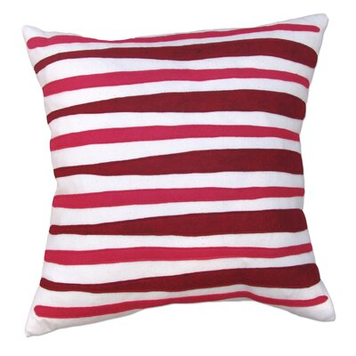 Moris Linen Throw Pillow Color: Off-White Flannel Fabric in Red/Strawberry