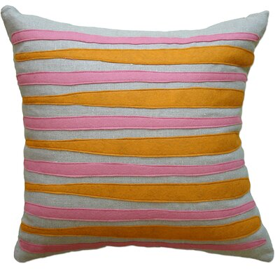 Moris Linen Throw Pillow Color: Oatmeal Linen Fabric in Spice/Rose