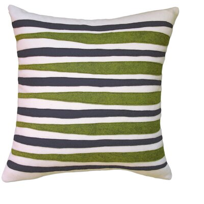 Moris Linen Throw Pillow Color: Off-White Flannel Fabric in Navy/Leaf