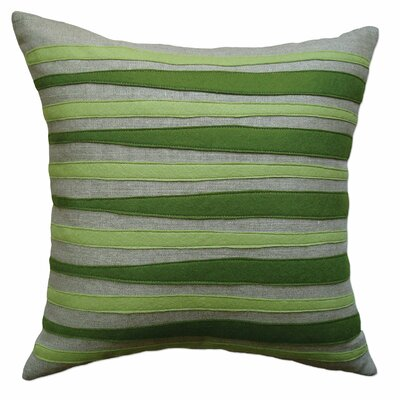 Moris Linen Throw Pillow Color: Oatmeal Linen Fabric in Moss/Pea