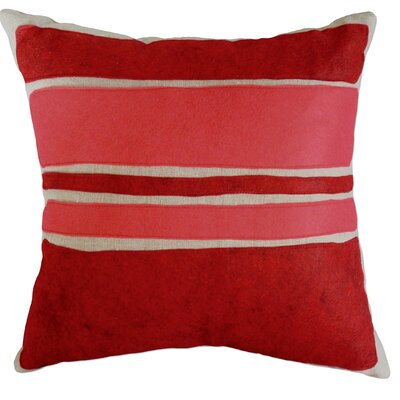 Applique Block Linen Throw Pillow Color: Oatmeal Linen Fabric in Red/Strawberry