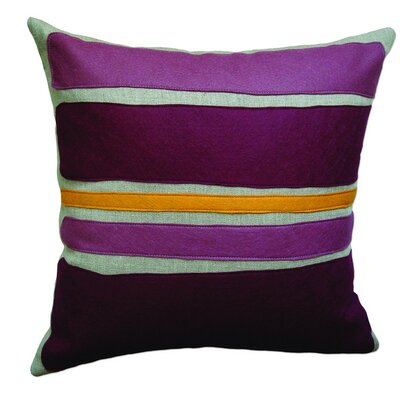 Applique Block Linen Throw Pillow Color: Oatmeal Linen Fabric in Plum/Burgandy/Spice